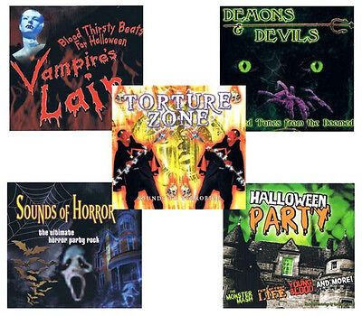 Sound Effects Halloween Sounds Of Horror (5 HALLOWEEN CD LOT demons,devils,sounds of horror,party music,sound effects)