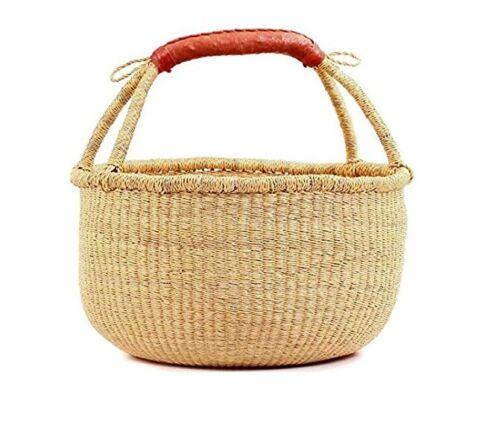 "Large African Fair Trade  Bolga Ghana Market Basket -14""-16"" Across"