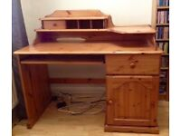 Wooden pine desk , sturdy table , home office , computer