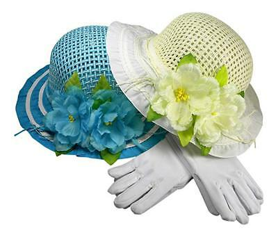 Girls Tea Party Dress Up Play Set of Two With Sun Hats and White Gloves Blue/Ivy](Tea Party Hats And Gloves)