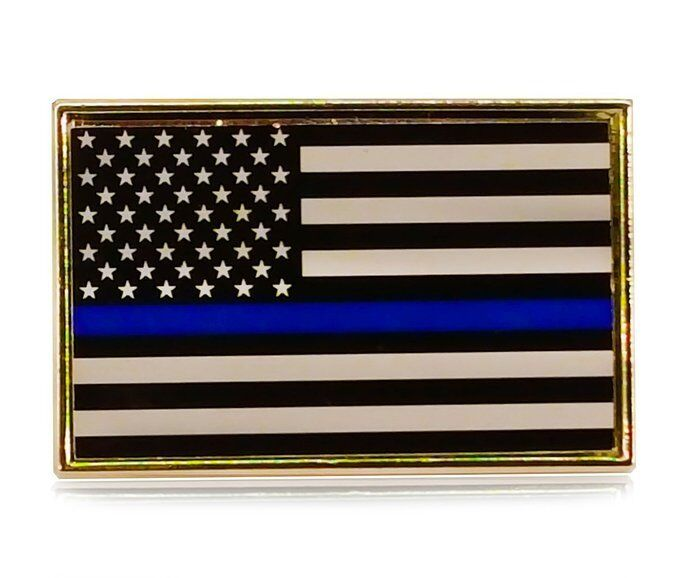 Thin Blue Line American Flag Police Support Blue Lives Matter Lapel Pin Tie Tack