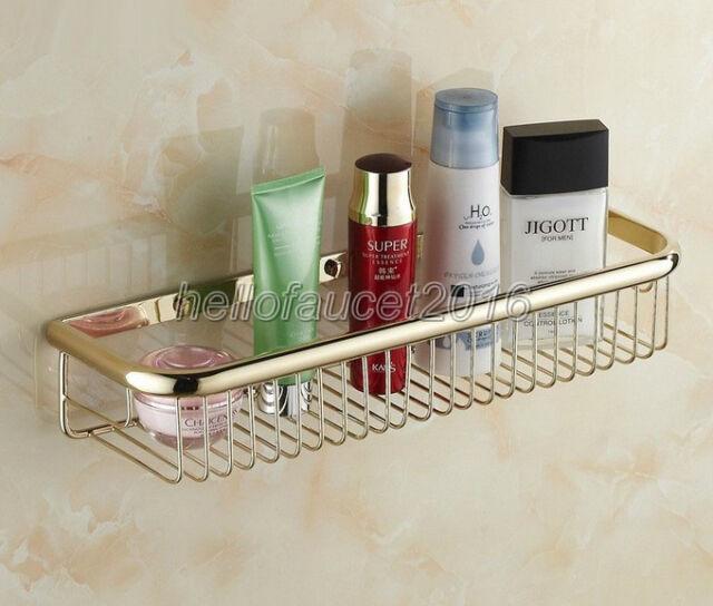 450mm Bathroom Gold Color Brass Shower Shelf Caddy Basket Storage lba096