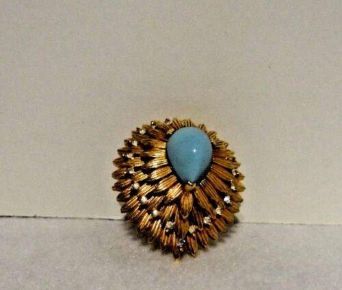Vintage Jomaz Brooch Turquoise and Rhinestones
