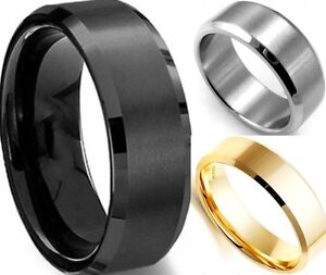 8MM-Stainless-Steel-Ring-Band-Titanium-Silver-Black-Gold-Men-SZ-7-to-15-Wedding