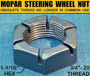 NOS-OLD-MOPAR-STEERING-WHEEL-AXLE-NUT-1950s-OBSOLETE-3-4-20-ExtraFine-THREAD