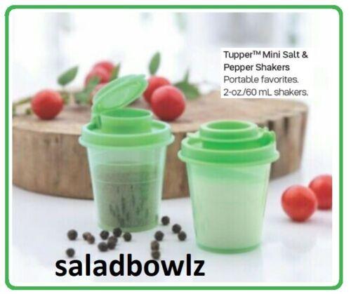 TUPPERWARE New TUPPER MINI SALT & PEPPER SHAKERS Pair GREEN Shaker Midgets 2 oz