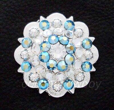 Western Bright Silver Crystal Rhinestone Concho