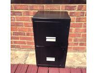 Black Filing Cabinet Drop Files Office Work Business storage Accounts Paperwork Industrial Metal