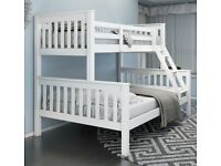 BRAND NEW SINGLE / DOUBLE NOVARO SOLID PINE WOOD BUNK BED FRAME IN WHITE FINISH BUNKBED