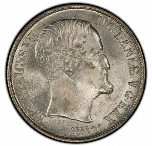 Denmark Rigsdaler 1855 FK-FF PCGS MS64+ Frederik VII Bright White Coin !