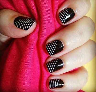 Jamberry Nail Wraps Half Sheet Static Black White Stripe FREE SHIPPING NEW GIFT
