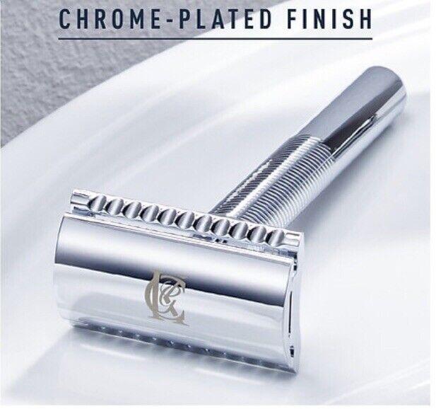 King C Gillette - Chrome-Plated Double Edge Safety, 1 Razor + 5 Platinum-Coated