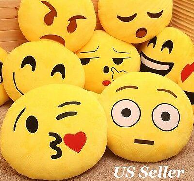 Emoji Pillow Yellow Round Cushion Soft Emoticon Stuffed Plush Toy Doll Poop - Toy Poop