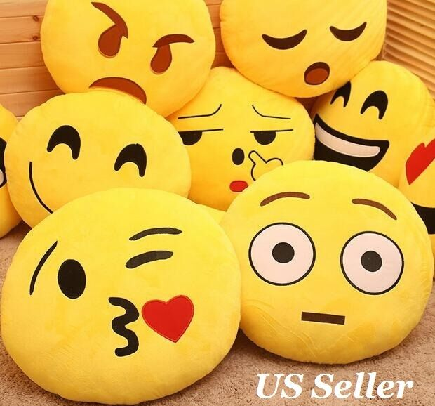 Emoji Pillow Yellow Round Cushion Soft Emoticon Stuffed Plus