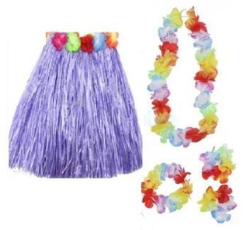 Kid's Hula Skirt & Lei 5pc Costume set Hawaiian Dancer 40cm long