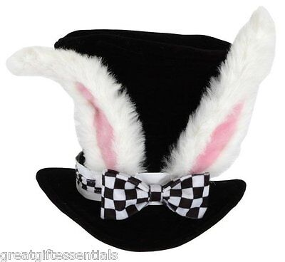 Alice in Wonderland White Rabbit Top Hat Adult Costume Ears Bunny Mad Hatter NEW - Alice In Wonderland Costume White Rabbit