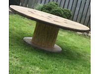 Large family Round garden rustic cable drum table
