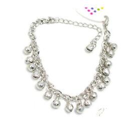 Silver coloured ball & bell charm bracelet - JTY184