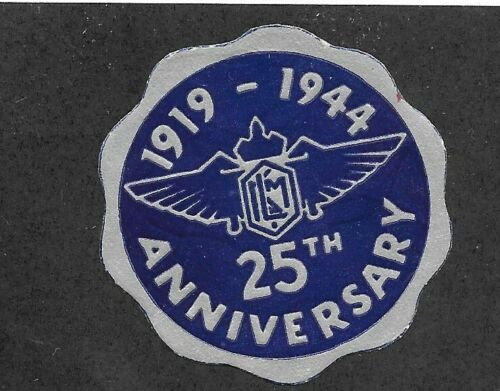 Vintage Poster Stamp Label 1944 KNILM 25th anniversary Dutch Airlines