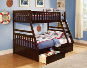 BUNK BED SOLID WOOD WITH DRAWERS