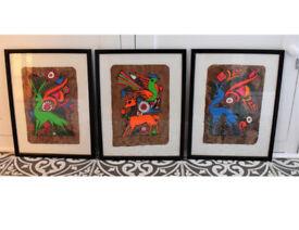 Mexican folk bark art, mid century, vintage art, neon