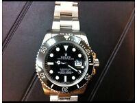 Rolex submariner with ceramic bezel and glide lock bracelet