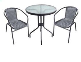 Rattan bistro set 3 piece garden chairs