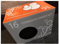 STONEWARE 16 Piece Family Dinner Set, BNIB, £17