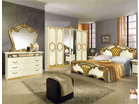 Italian Bedroom for Sale (4 door Wardrobe), dressing table, 2 side drawers, bedframe and mattress.