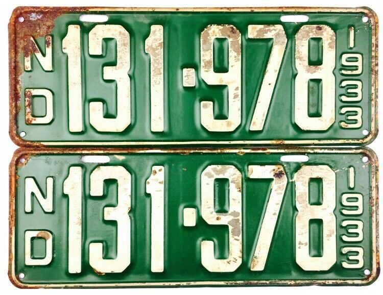 NOS UNISSUED 1933 North Dakota License Plate PAIR #131-978 YOM