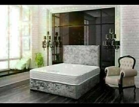 CRUSHED VELVET DIVAN BED BASE SINGLE/DOUBLE/KING SIZE DIFF MATRESSES
