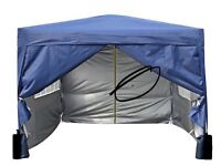 3x3m Pop-up Gazebo 2 Windbars waterproof coating layer Marquee Canopy With Sides (Blue) boxed unused