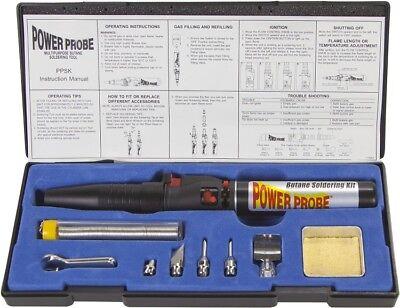 Power Probe Butane Gas Soldering Iron Tool Kit W Tips Knife Solder