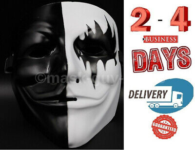 V for Vendetta Mask Adult Guy Fawkes Anonymous Occupy Halloween Black & White - Occupy Masks