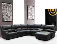 Bonded Leather Sectional W/ 2 Recliners and Chaise Lounger $1798
