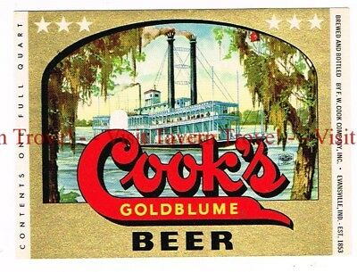 Unused 1950s INDIANA Evansville COOK'S GOLDBLUME BEER Riverboat 32oz Label