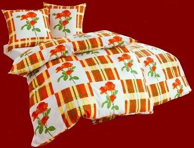 2-tlg. BETTWÄSCHE wollweiss-orange-grün 80x80 + 155x220 BIBER NEU
