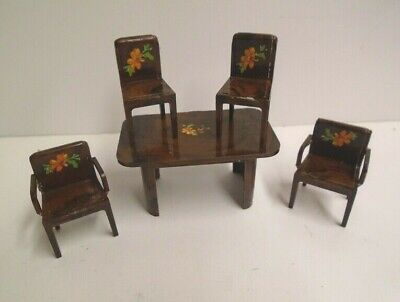 Vintage Brown Table & Four Chairs Set Dolls House Kitchen Dining Room 16th
