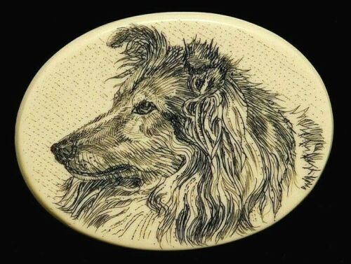 VINTAGE Collectible Button Large SCRIMSHAW Resin COLLIE DOG