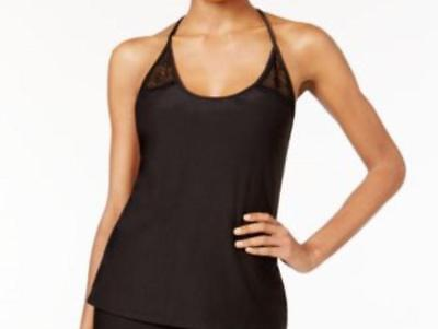 Linea Donatella Sleep Shirt Black Knit and Lace Trim Cami Style Top Medium