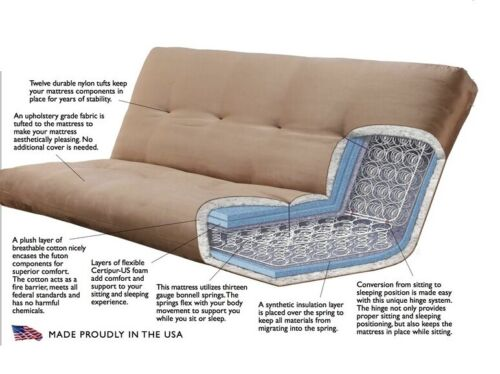 "Kodiak full size 8"" innerspring mattress for futon. Fabric choices. Made in USA"