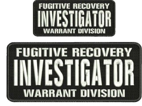 Fugitive Recovery INVESTIGATOR embroidery patch 4x10 & 2.5x6 hook black