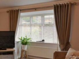 Set of 6 horizontal blinds - White, 50mm wooden slats, cotton tapes, various widths