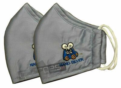 2x Kinder Mundschutzmaske Wiederverwendbar mit Nano Silver Mund-Nasenschutz Blau