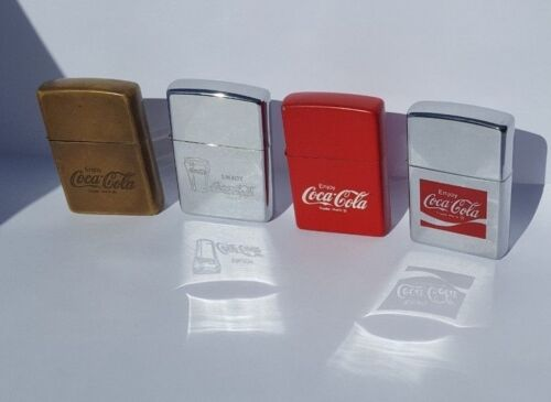 Zippo Lighter Coca Cola Advertising Lot of 4 Vintage and Free Shippping Worldwid