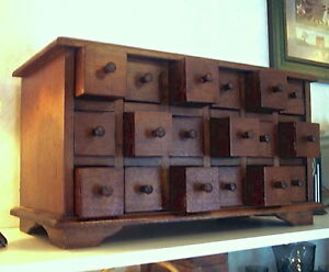 18 Drawer Apothecary Spice Chest Solid Mahogany