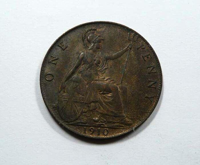 Great Britain King Edward VII Penny 1910 UNC Beard & Hair Showing NICE