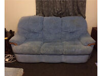 BLUE 3 SEATER SOFA, 2 ARMCHAIRS (ONE RECLINES) AND FOOT STOOL