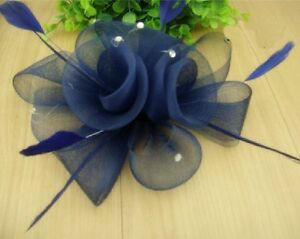 Fascinator-ramillete-flores-plumas-Estras-Adorno-Para-Cabello-Azul-marino-pelo