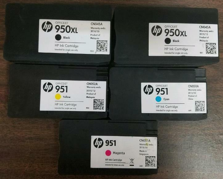 Set of 4 New Genuine Factory Sealed HP 950XL 951 Ink Cartridges Black C M Y 2019